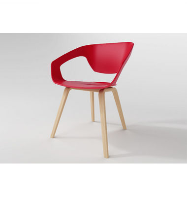 2017 fashional design/ elegant style/ red plastic chair with metal design dining chair