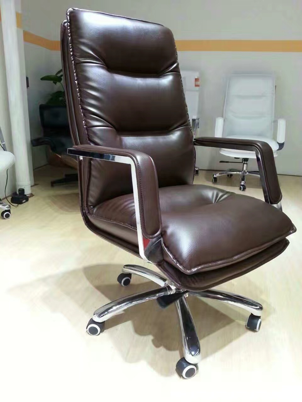 High Back PU Leather Executive Office Task Computer Desk Chair with Metal Base