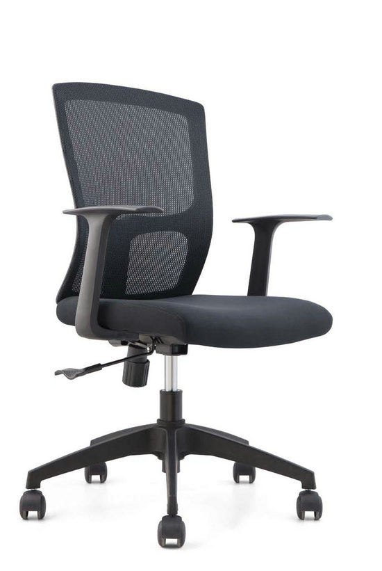 Cheap black mesh staff office chair nylon base swivel armchair for conference meeting room -1