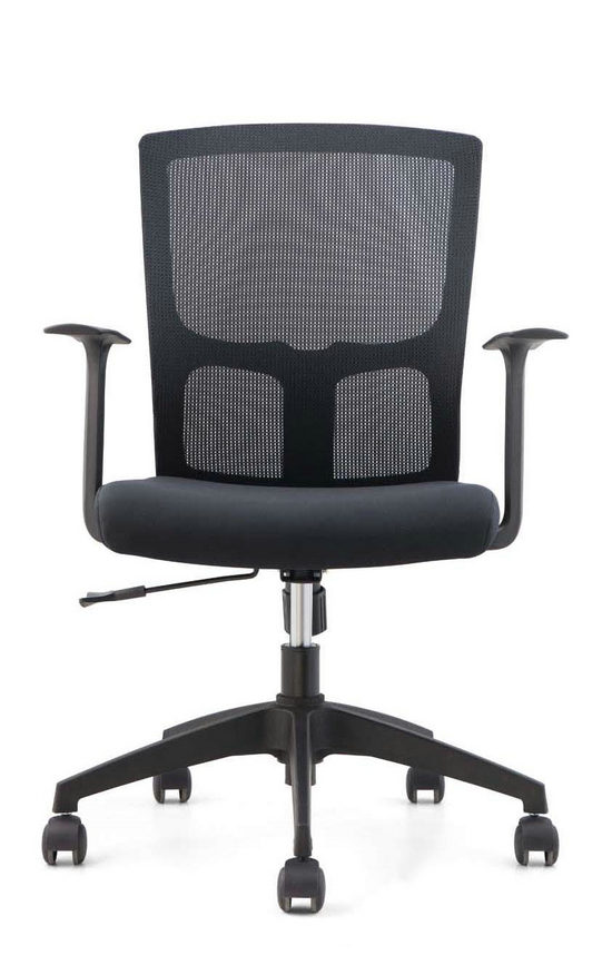 Cheap black mesh staff office chair nylon base swivel armchair for conference meeting room -2