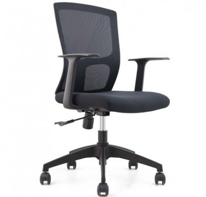 Cheap black mesh staff office chair nylon base swivel armchair for conference meeting room