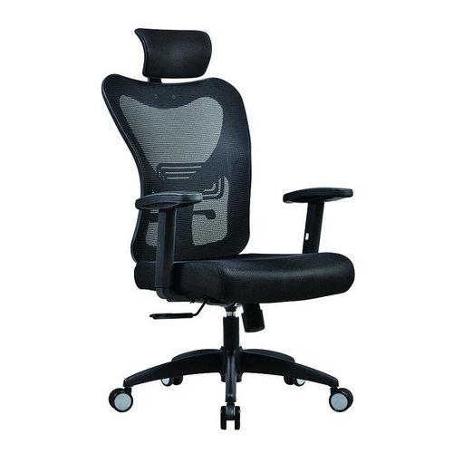 Foshan Manufacturer Ergonomic Elegant Black Mesh Swivel Office Chair with Headrest -1