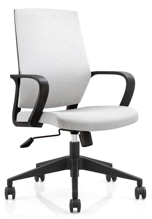 Hot sale plastic back fabric rolling swivel staff office chair with adjustable height nylon base -5
