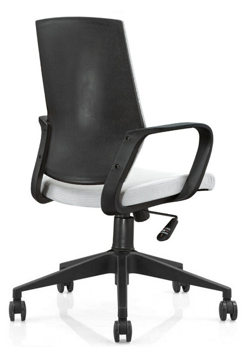 Hot sale plastic back fabric rolling swivel staff office chair with adjustable height nylon base -6