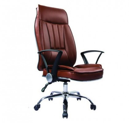Height Adjustable Recliner Brown Leather Manager Swivel Mechanism Revolving Ergonomic Office Chair