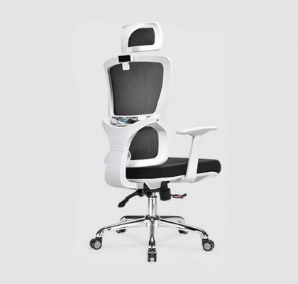 functional executive ergonomic office mesh chair height adjust swivel white frame recliner manager seats