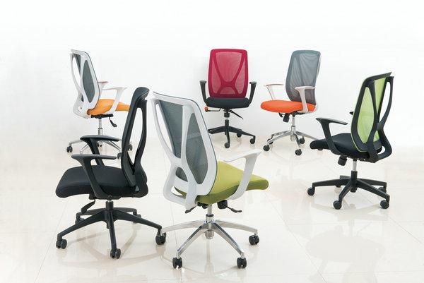 soft fabric new PP egonomic design sponge seat swivel mesh office chair computer chair -4