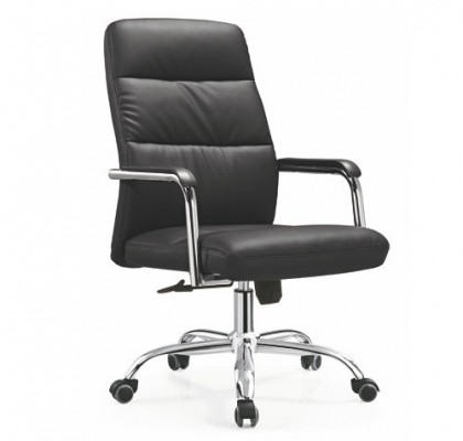 China Cheap PU Leather Staff Office Task Computer Desk Chair with Metal Base in Alibaba