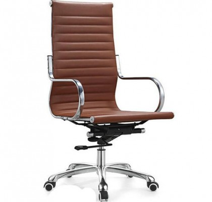 China Round tube armrest high back PU leather ergonomic computer office chair with wheels