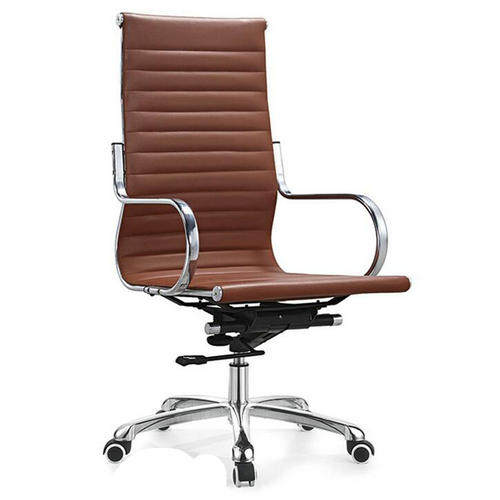 Round tube armrest high back PU leather ergonomic computer office chair with wheels