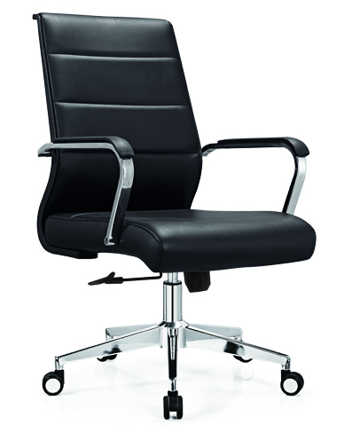medium back leather office staff chair -1