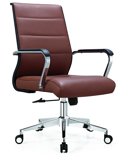 medium back leather office staff chair -2