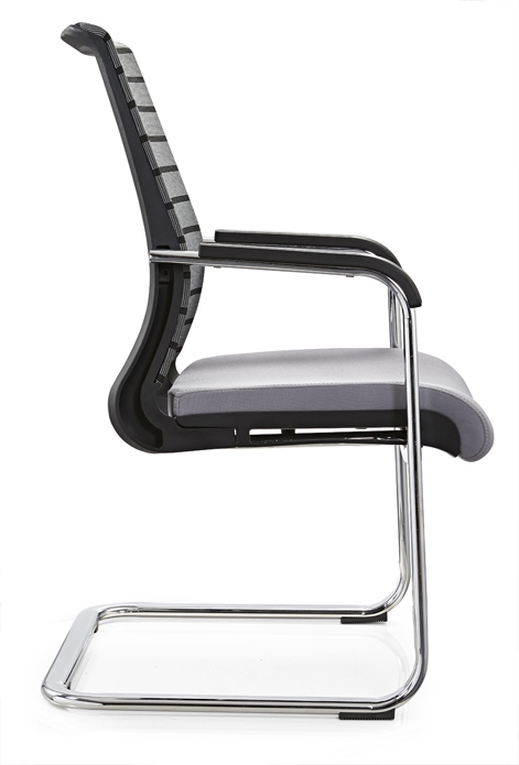 Guangdong mid back plastic office furniture conference meeting chair reception seating without wheels -2