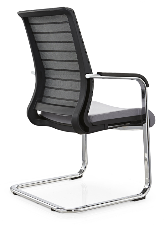 Guangdong mid back plastic office furniture conference meeting chair reception seating without wheels -3